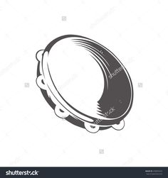 Hand Drawing Style Black And White Silhouette Of Tambourine ...