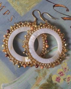 cb2cbe8d19280a Beaded Mother of Pearl Earrings Large Seed Bead Earrings Beadwork Sea Shell  Jewelry