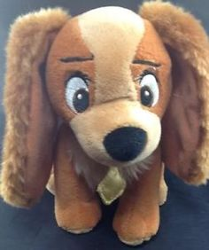 "Disney Lady and The Tramp Plush Doll 6"" Small Brown Dog Stuffed Toy Licensed 