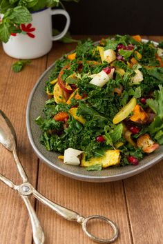 Coconut Chunk Curried Kale Salad #summersalad Healthful Pursuit|  Healthful Pursuit