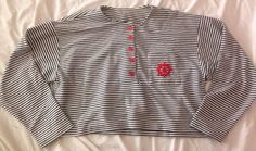 VINTAGE 50s 60s Pin Up Black White Striped Sailor Crop Top Shirt Tee Top - S M L #IFI
