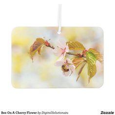Bee On A Cherry Flower Car Air Freshener