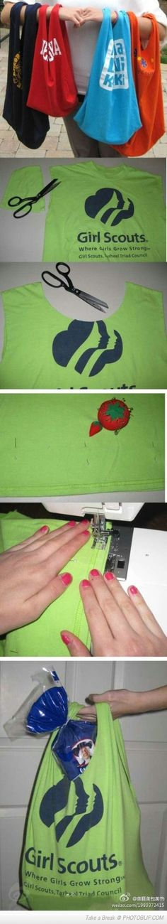 Repurpose Old T-shirts By Making Reusable Bags From Them
