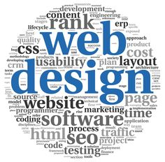 Web design concept in word tag cloud on white background.