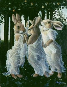 "Graces ""The Three Graces"" from c. religious art revived via animalia - love the sarcasm in this.""The Three Graces"" from c. religious art revived via animalia - love the sarcasm in this. Art And Illustration, Fantasy Kunst, Fantasy Art, Lapin Art, Rabbit Art, Bunny Art, Whimsical Art, Pet Portraits, Cool Art"