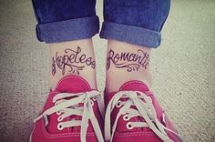 The Bouncing Souls 'Hopeless Romantic' ankle lettering tattoo :) Future Tattoos, Tattoos For Guys, Tattoos For Women, Ankle Tattoos, Word Tattoos, Tatoos, White Tattoos, Sweet Tattoos, Finger Tattoos