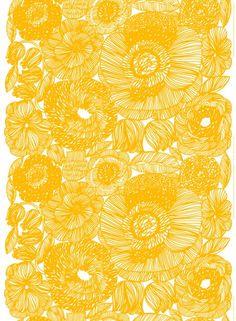 Kurjenpolvi - paksu puuvilla (valkoinen, keltainen) |Kankaat, Puuvillakankaat | Marimekko