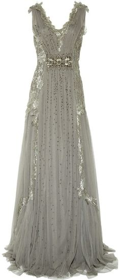 Alberta Ferretti Embroidered Tulle Gown- I love this-Somthing like this would be my dream dress! Sequin Evening Dresses, Evening Gowns, Grey Prom Dress, Dress Up, Prom Dresses, Grey Gown, Dress Hire, Dresses 2014, Jeans Dress