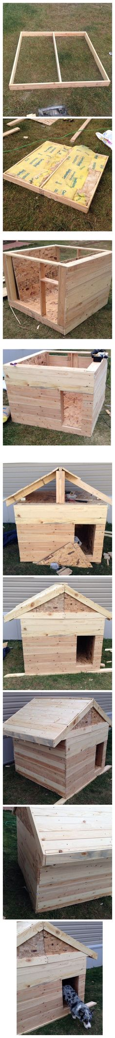 Dog house diy - Building a heated and insulated dog house with minimal tools a ruler, marker, circular saw, drill and hammer Insulated Dog House, Heated Dog House, Dog House Plans, Dyi Dog House, Pallet Dog House, Build A Dog House, Duck House, Cabin Plans, Dog Runs