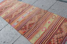 Turkish Kilim Rug Runner Handmade Traditional Anatolian Natural Colours %100 Wool Size:287cmx90cm inç:113x35 Feel free to ask any information  Product Code:7821