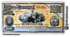 Billete de 100 Bolívares Banco de Carabobo C.A. Año 1883