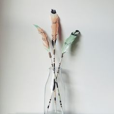 DIY painted feather arrows, Native American crafts. Interior styling, Design Sponge blog.