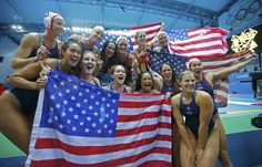 Way to WIN GOLD Ladies!!!  U.S. players celebrate their win over Spain in their Women's Gold Medal water polo match during the London 2012 Olympic Games