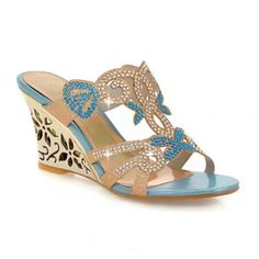 e61164f589861 Buy Charm Foot Fashion Rhinestone Womens Wedge Heel Open Toe Sandals  Slippers at Your Katalique