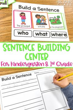 Check out this sentence building center for kindergarten and first grade! Students use the color-coded sentence parts to build and create sentences. A great literacy center to build confidence in constructing complete sentences!