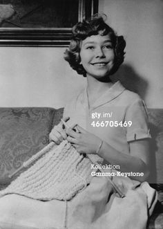 Princess Christina of Sweden knitting in 1955