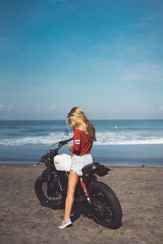 woman on motorbike by sergey.kozlov1815 on @creativemarket