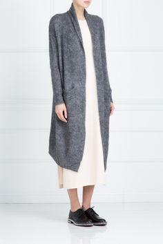 Однотонный кардиган Elizabeth And James - Объемный длинный кардиган универсального серого цвета из коллекции бренда Elizabeth and James в интернет-магазине модной дизайнерской и брендовой одежды