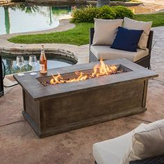 Christopher Knight Home Pablo Brown Rectangular Liquid Propane Fire Table Fire Pit Coffee Table, Propane Fire Pit Table, Gas Fire Table, Fire Pit Backyard, Outdoor Fire Table, Patio Table, Wood Table, Outdoor Living, Outside Fire Pits