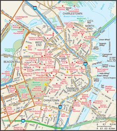 Antique Map Of Boston Massachusetts Downtown By Figure - Road map of massachusetts