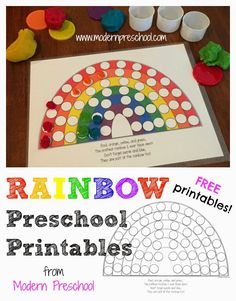 Modern Preschool: ACTIVITY: Rainbow Colors & Fill the Pots of Gold {free printables included!}