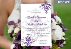 Printable Wedding invitation template Purple Damask by Oxee, $5.00