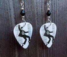 Elvis Jailhouse Rock Guitar Pick Earrings with Black Crystals