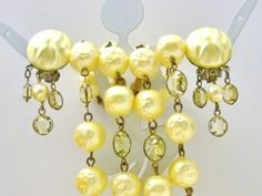 Springtime Yellow Multi 2 Strand Channel Set Crystal Necklace Earrings Vintage | eBay