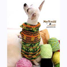 Cute Colorful Striped Dog Dress Crochet Pet Sweater by myknitt #spring #fashion #diy #crochet #dog #puppy #chihuahua #yorkie #pug #maltese #handmade #sweater