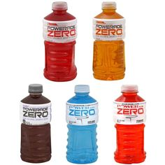 Powerade ZERO Ion4 Advanced Electrolyte System Zero Calorie Sports Drink 32 oz. (Pack of 10) Flavored other natural flavors 32 fl ounce, 5 different flavors, 10 bottles MIXED BERRY, GRAPE, LEMON LIME, ORANGE, FRUIT PUNCH and STRAWBERRY Flavo...