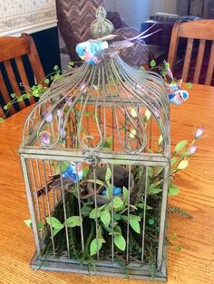 My decorated bird cage from Hobby Lobby with silk florals, faux birds, with hand painted eggs in a real Robin's nest which I found in our yard!