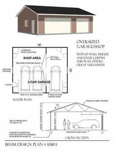3 Cars Basic One Story Garage Plans By Behm Design D.no Ready to… - Garage shop The Plan, How To Plan, 3 Car Garage Plans, Garage Blueprints, Interior Ikea, Garage Interior, Interior Design, Design Garage, Workshop Layout