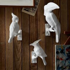 "Papier-Mch Animal Sculptures  - Birds #westelm :: Cockatoo: 6""w x 8""d x 3""h. Royal Flycatcher: 7""w x 6""d x 6""h. Toucan: 11""w x 10""d x 6""h."