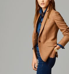 camel wool blazer, chambray shirt, jeans