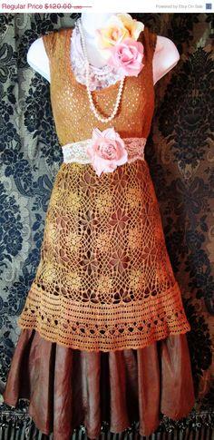 On Sale Tan lace dress tea stained beige silk crochet rustic rose romantic medium by vintage opulence on Etsy