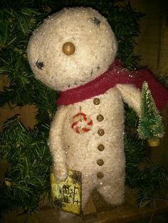 Roddy primitive snowman brush tree cloth doll by MeNtheGirls
