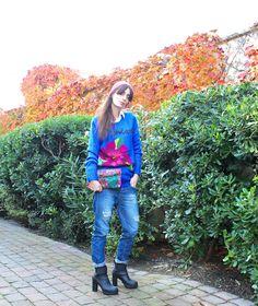 #knit #knitwear #fashion #blu #lifestyle #outfit #winter #desigual #fidenzavillage #jeans #sorel #boots #pochette