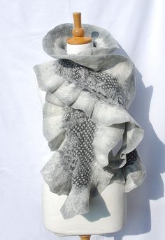 Felted scarf- felt scarf merino wool nunofelt winter fiber art gift nuno felt gray grey white black