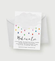 Rain Shower Baby Shower Invitation | Printable, Baby Shower Invitation, Baby Shower, Rainbow, Blue, Pink by kandsdotco on Etsy https://www.etsy.com/listing/400407689/rain-shower-baby-shower-invitation