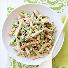 Green Bean and  Penne Salad Recipe  Could also use aspargus instead of beans and even add chicken