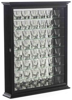 Glass cabinet Crown Moldings - 72 Shot Glass Cabinets for Tabletop or Wall, Crown Molding, Hinged Door Black. Glass Wall Shelves, Glass Shelves Kitchen, Display Shelves, Bathroom Wall Cabinets, Living Room Cabinets, Glass Cabinets, Kitchen Cabinets, Tempered Glass Door, Tempered Glass Shelves