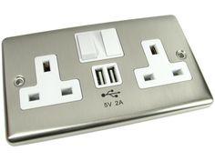 Chrome UK Mains Power Socket With 2 amp USB Charging Ports Connection Wall Plug | eBay