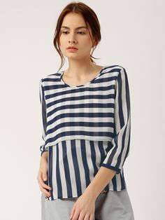Deepika Padukone Navy Blue & Off White Striped Layered Loose Fit Top