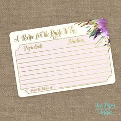Printable Recipe For the Bride Card: Purple, Violet and Gold Glitter Floral for Bridal Shower INSTANT DOWNLOAD