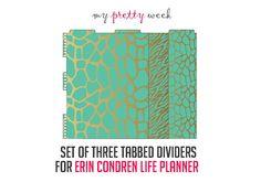 teal animal print dividers for Erin Condren Life Planner from MyPrettyWeek on etsy - myprettyweek.etsy.com
