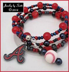 Atlanta Braves Red Blue Logo Baseball Coil by JewelryByScotti, $25.00