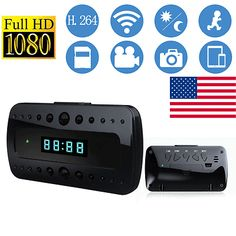 ﹩35.73. US HD 1080P Wireless Wifi Spy Hidden IP Camera Network Alarm Clock Night Vision    Color Mode - Color Day, BW Night, Connected Home Protocol - Wi-Fi, Connectivity - IP/Network - Wireless, Features - Audio Recording, Form Factor - Clock, Resolution (TVL) - Full HD 1080p, Type - Indoor,