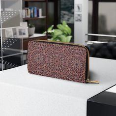 Zipper Wallet, Faux Leather Wallet, Gift for Grandma, Women's Purse, Brown Geometric Design