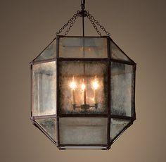 "Parisian Octagonal Antique Mirror 23.25"" Chandelier - Weathered Rust"