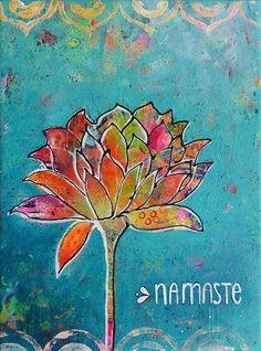 Yoga art, Namaste, Yoga painting by Redhead Art.   #yogaart #namaste #yoga #painting #redheadart Redhead Art, Yoga Art, Artist Gallery, Schmidt, Peace And Love, Vibrant, Lisa Marie, Artwork, Paintings